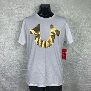 🆕 True Religion White/Gold Horseshoe Tee (NWT)